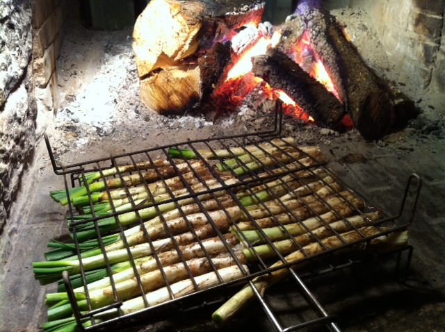 Cooking calçots on the open fire.  Calçots are a mild green onion grown in Catalonia, Spain.