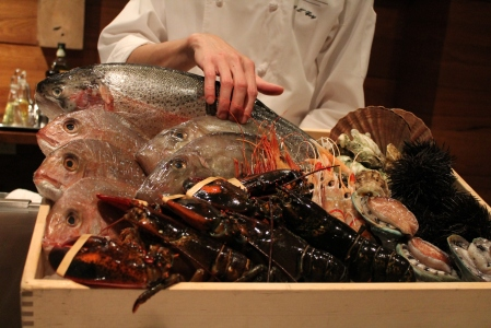 A plethora of fresh seafood - some of it still alive.