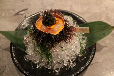 Marinated Botan shrimp with sea urchin and Oscietra Caviar.