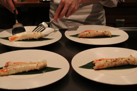 Steamed Alaskan King Crab with lemon scented extra-virgin olive oil.
