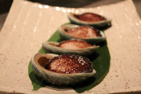 Live Tasmanian abalone squirming around in their shells.