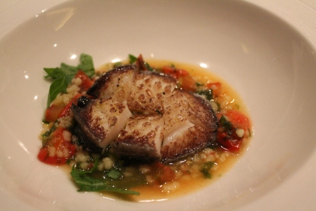 Tasmanian abalone with Fregola and tomato.