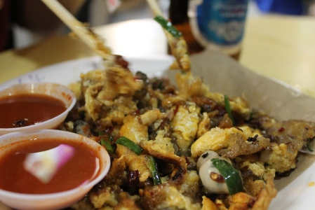 Oyster omelette - sounds gross but is SO delicious.  Eat it!