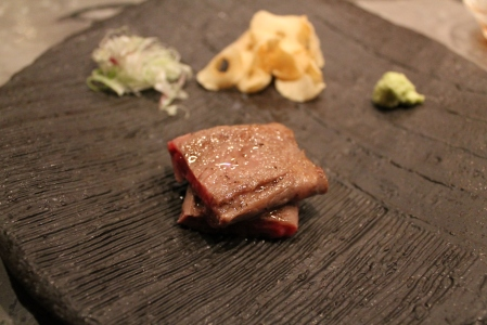 Japanese So-o beef from Kagoshima Prefecture with fresh wasabi and citrus soy.