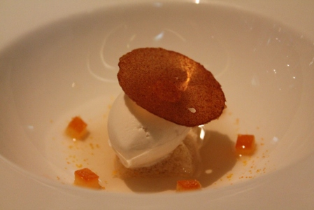 First dessert: Cold soup of dates with Tonka bean ice-cream and orange.