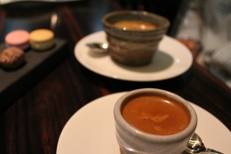 Espresso served in gorgeous sake cups.