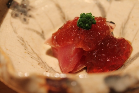 Smoked bonito tuna with ponzu jelly.