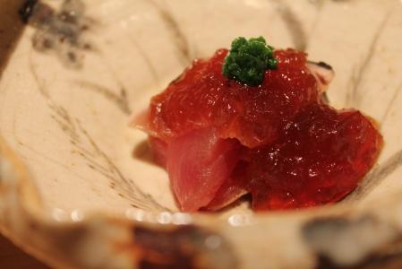 Smoked bonito tuna with ponzu jelly.