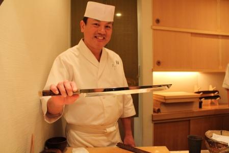 Masterchef Yoshitake brandishing his impressive steel!