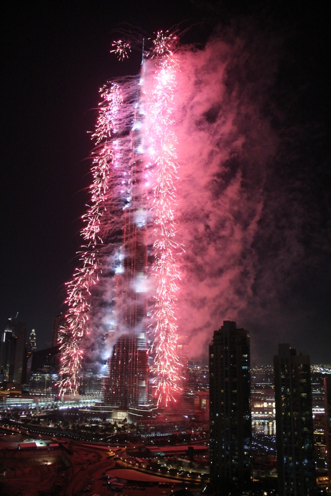 Fireworks spewing from the Burj Khalifa.  Pretty!