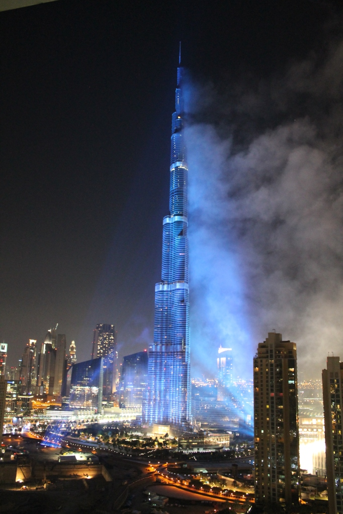 The Burj Khalifa spotlit in the colours of the Dubai 2020 bid for the Expo.