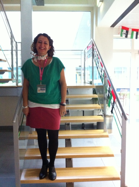 Gotta love the enthusiasm!  My colleague Pauline dressing in the national colours!