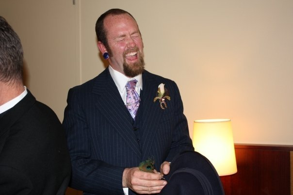 Always up for a laugh.  Perhaps some pre-wedding jitters, too!
