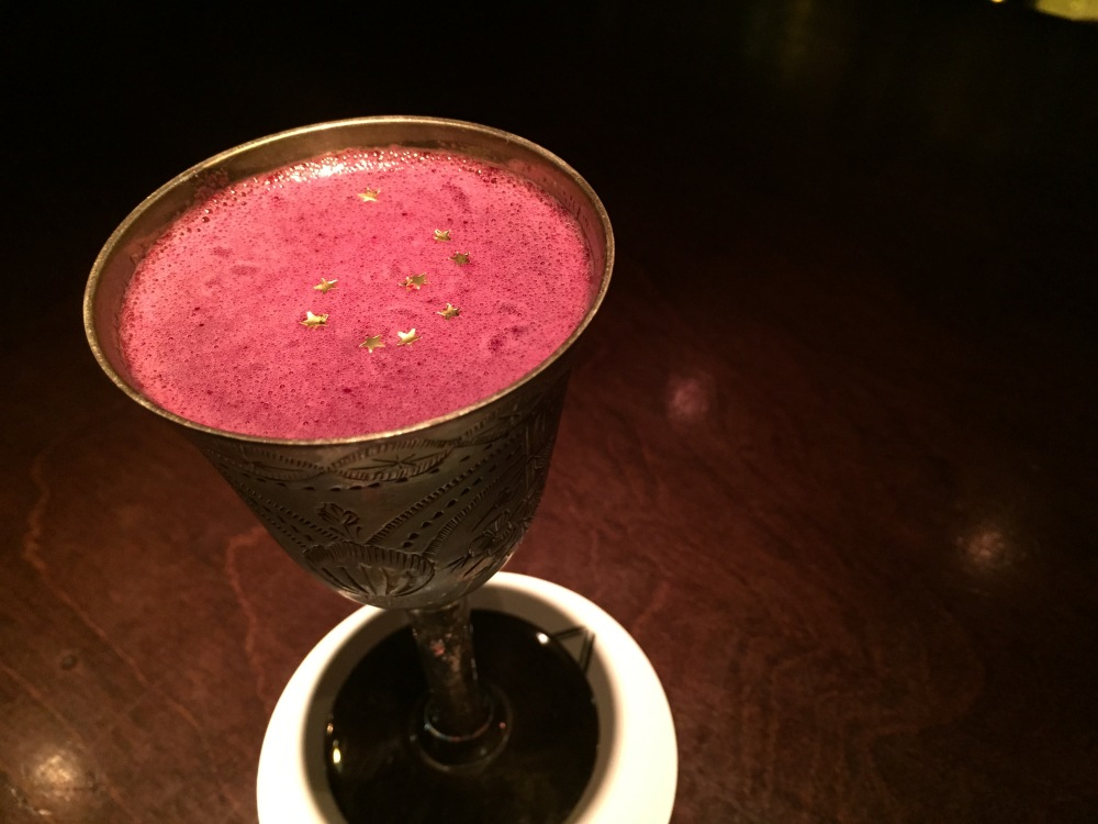 David had this beetroot based cocktail in a pewter mug sprinkled with gold leaf stars.  AMAZE!!!!!