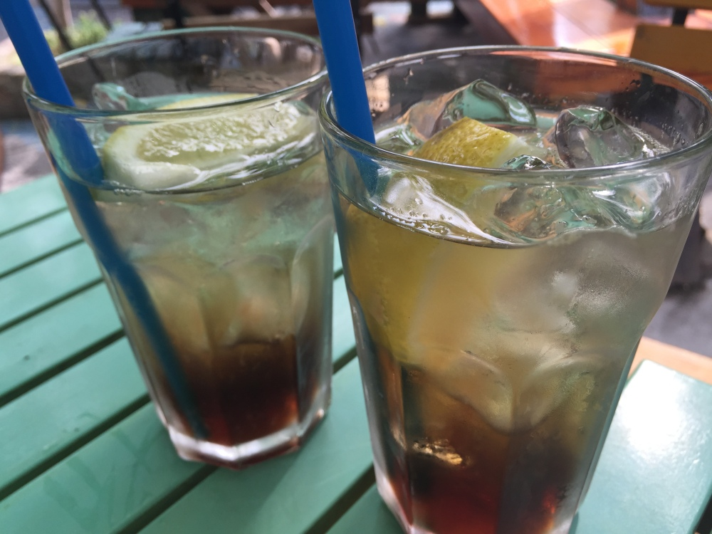 OK, so we got the strongest drink on the block (Long Island Ice Tea), but I have never seen it served like this.  That is pretty well just spirits (five of 'em) and a dash of coke for propriety.