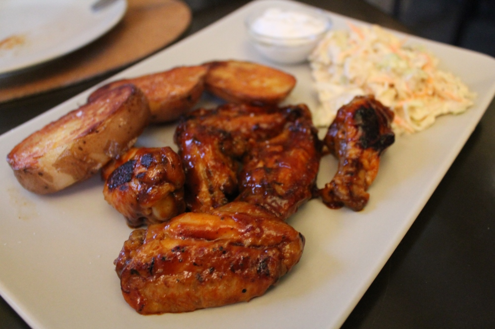 Spicy chicken wings hit the spot (as did the accompanying, thick-cut roast potato).