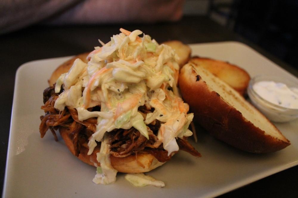 Pulled pork burger with yummy coleslaw.  Perfect end to a night trawling the ruin bars of Budapest.