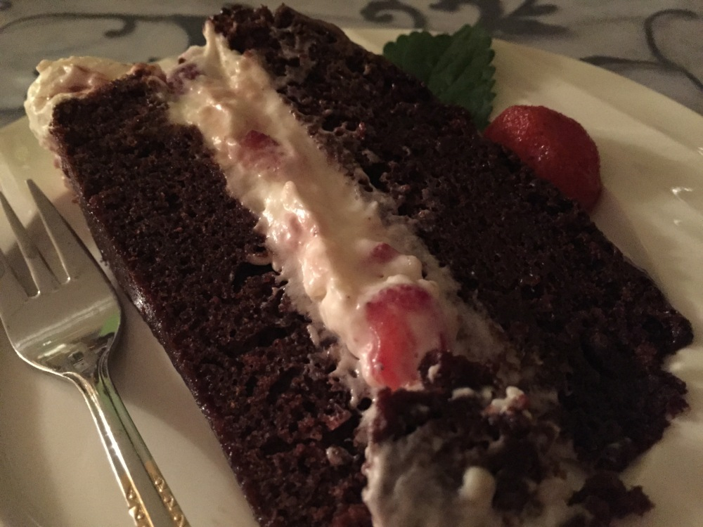 Dessert - chocolate cake with cherry filling.  Divine.