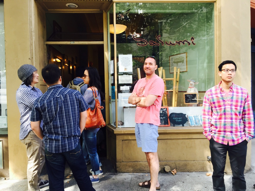 Waiting in line at Salumi