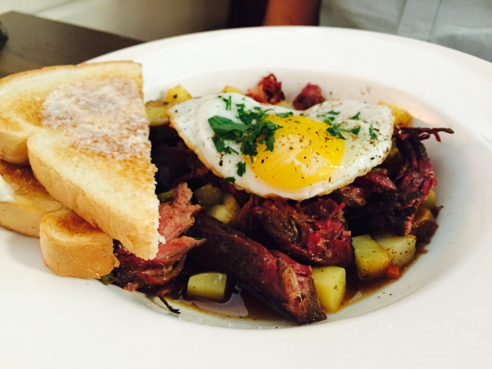 Lamb hash with sunny side up eggs
